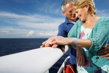Woman wearing Sea-Band on boat with man